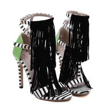 New Trendy Women High Heel Sandals Gladiator Sandals Platform Ladies Shoes Ankle Strap Women Sandals Tassel Womens Summer Shoes(China (Mainland))