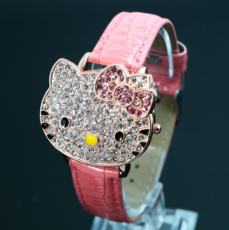 New Luxury Hello Kitty Watch Children Women Dress Fashion Crystal Quartz Wristwatch Female Watch 048-27(China (Mainland))