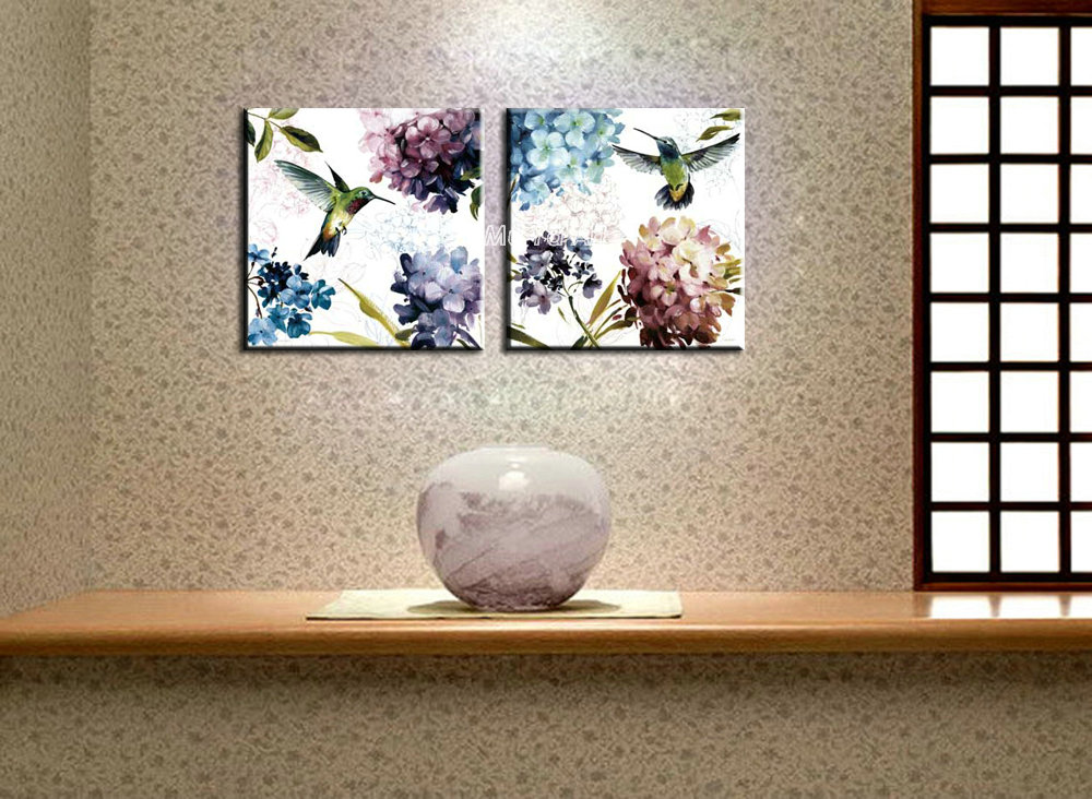 Muti panel canvas prints modern abstract birds flower painting set supplier printed art wall picture for bedroom home decoration(China (Mainland))