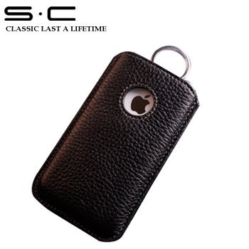 Hot ! wholesale service Black cow leather case for iphone 4 4g 4s slip case black  Cell Phone Case for Iphone 4 - 4CPHC0012
