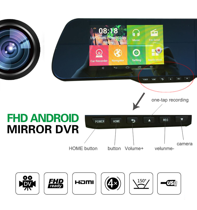 Promotions New 5inch Car Camera Parking Video Recorder Car Rearview Mirror With Camera Full HD 1080P Car DVR Dual Camera(China (Mainland))