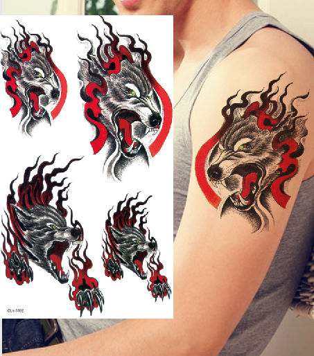 flash tattoo aterproof man blood wolf totem arm chest arm tattoo really temporary tattoo metallic tattoo(China (Mainland))