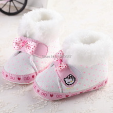 Baby Boots Flock Shoes Winter Prewalker Soft Bottom Cute Kitty Newborn Kids Todder Boot Boots Warm Child First Walkers(China (Mainland))