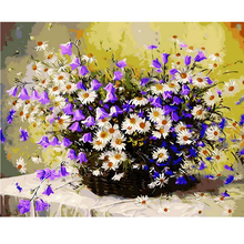 1PC Daisy Flowers DIY Oil Painting By Numbers Wall Pictures For Living Room Coloring By Numbers Canvas Art Home Decor 40x50cm(China (Mainland))
