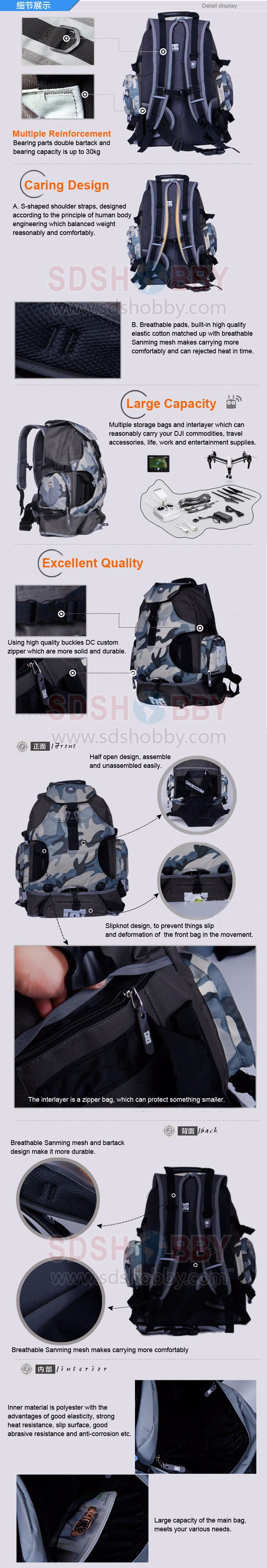DJI Inspire 1 Accessory Waterproof Shoulder Backpack Multifunctional Backpack Carrying Bag