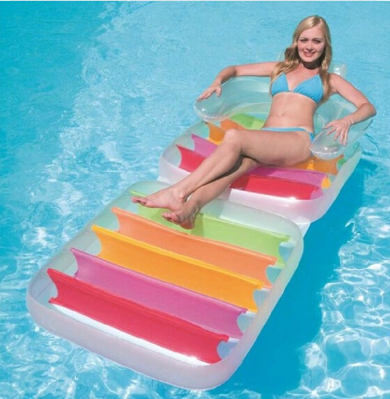 Фотография 2016 New Outdoor Furniture 198*94cm Inflatable Water Floats Lounge Floating Foldable Swimming Bed Relax Water Floating Bed Chair
