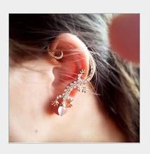 one piece fashion alloy rhinestone women gecko Earring Jackets girls gift fj165(China (Mainland))