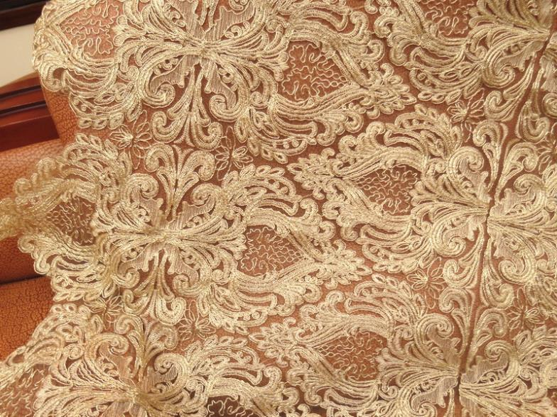 5Yard 120cm Width High Quality African Cord Lace Embroidered Tulle Fabric For Wedding Dress Golden Guipure Lace Fabric AF0019(China (Mainland))