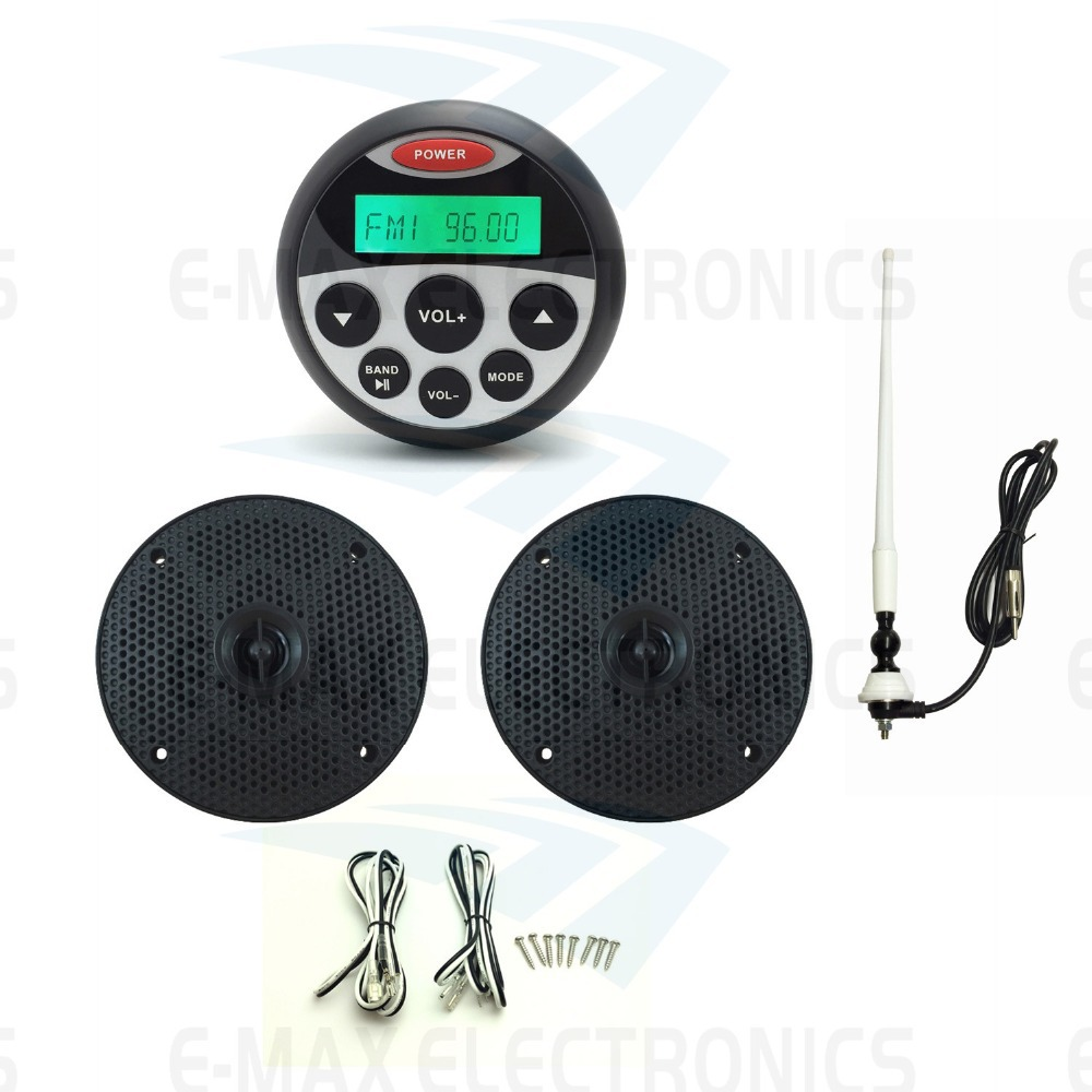 Waterproof Marine Stereo Sound System FM AM Radio Receiver MP3 Player +1 pair combat speakers for Motorcycle Boat SPA+1 Antenna(China (Mainland))