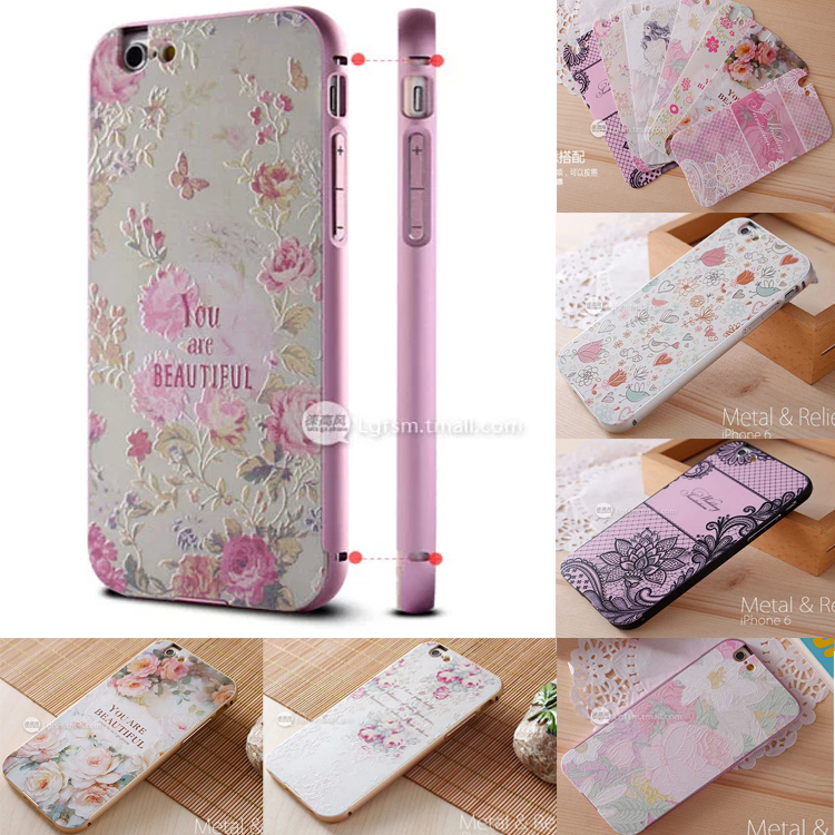 For iPhone 6 Case 4.7 3D Embossing Relief Picture Phone Bag Accessories + Metal Aluminum Frame For iPhone6 6 Hybird Back Cover(China (Mainland))