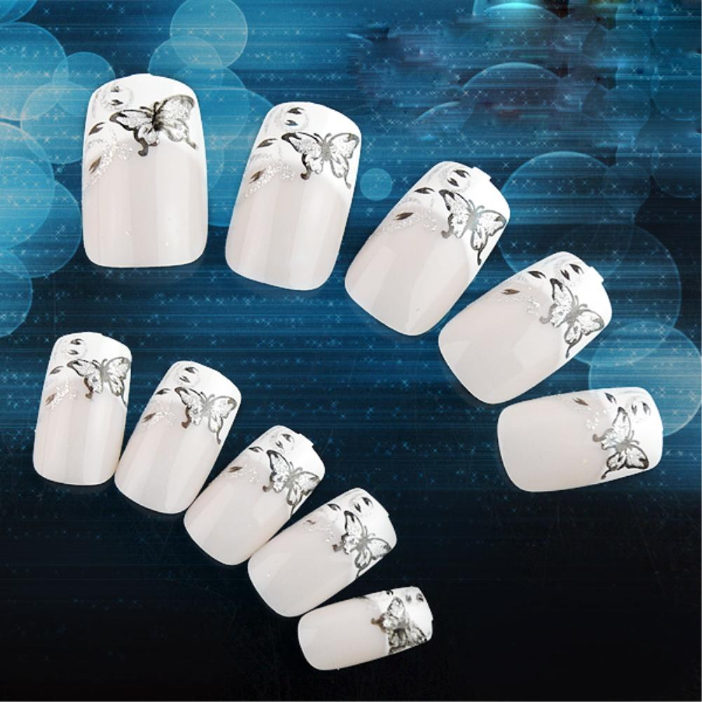 24pcs Acrylic UV Gel Glitter Butterfly False Nails Art Tips Tools & Nail Glue Nail Tools Manicures EG5406(China (Mainland))