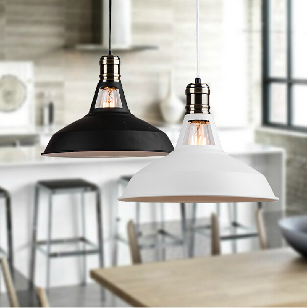 New arrival vintage pendant light Dia*31cm black and white iron home decoration ceiling lamp for dining room nostalgic place<br><br>Aliexpress