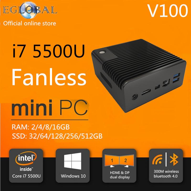 Eglobal Fanless Mini Pc Linux I7 16GB RAM 256GB SSD Broadwell I7 5500U Mini Itx Htpc Computer Micro Nettop 3 Years Free Warranty(China (Mainland))