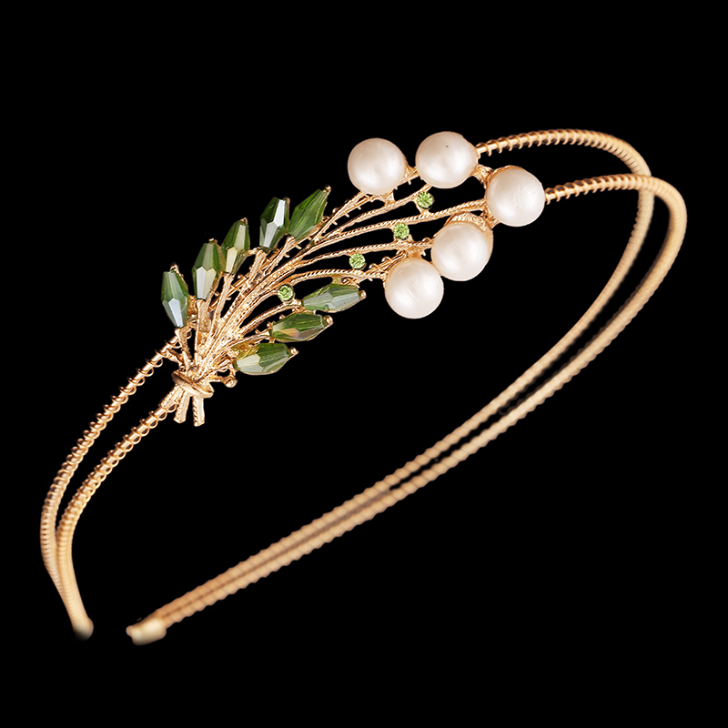 Fashion New Hairband 6 colors Yellow Gold Plated with Pearl Crystal Hair Accessory Jewelry For Woman Girls Gift Free Shipping()
