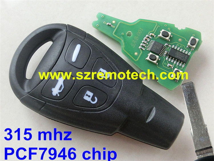 1Pcs Free Shipping New Key Fob Keyless 315mhz PCF7946AT chip Entry Car Remote Control Replacement Fit For Saab(FCC:LTQSAAM433T)X(China (Mainland))