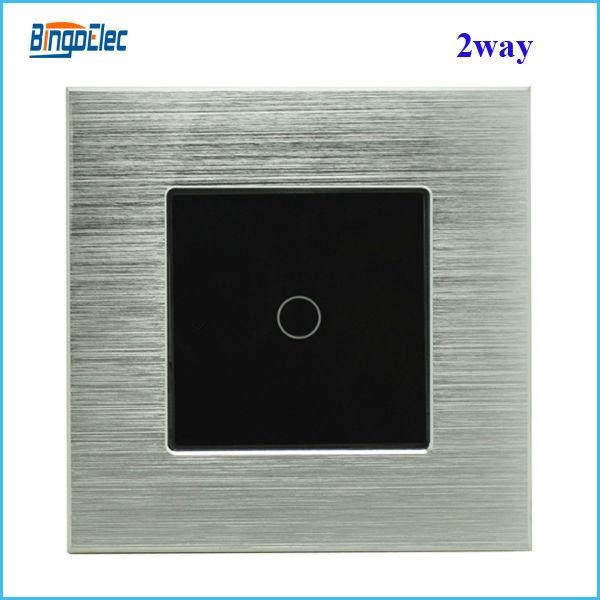 1gang 2way switch,silver aluminum and black glass panel touch light switch, EU/UK standard AC110-250V,Free shipping<br><br>Aliexpress