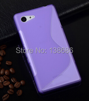 1pcs/lot Anti-Skid S Line Wave Cell Phone Case Soft Gel TPU S Line Mobile Phone Back Cover Case for Sony Xperia Z1 Mini M51W(China (Mainland))