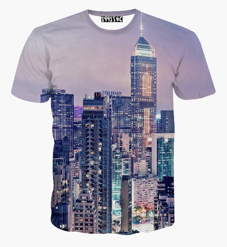 K&Novelty-new style Harajuku Hong Kong City Night dimensional printing men's women's 3d t shirt Tops Tees(China (Mainland))
