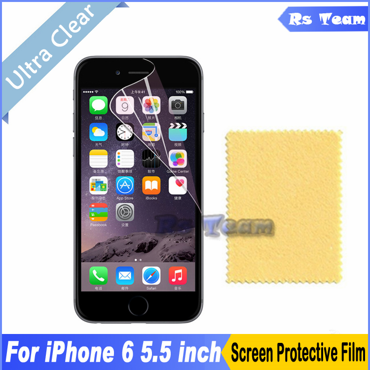 6pcs/lot HD Clear Front Screen Protective Film For Iphone 6 Plus 5.5 Inch Screen Protector Display Guard Film With Package