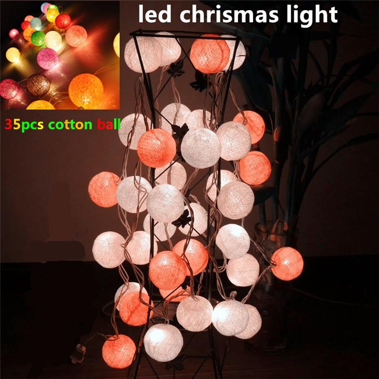 35 ball Fabric multicolor Cotton Ball String Fairy Lights Xmas Wedding Party Romantic Decoration Lamp Bulb 3m 220v Free Shipping(China (Mainland))