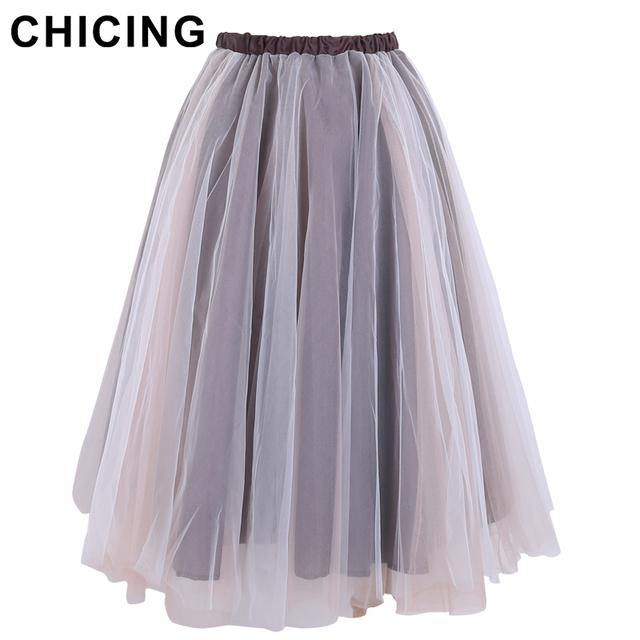 Chicing 3-Layers сетки юбки свободного покроя женщины юбка мода 2016 весна лоскутное ...