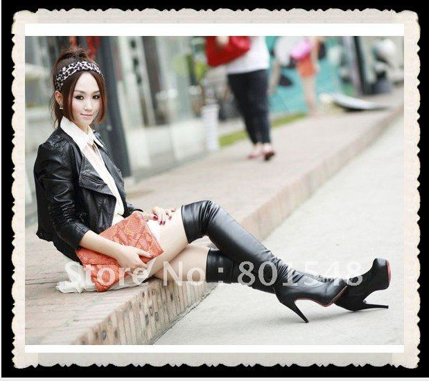 HOT Sexy High quality PU leather over the knee boots lady fashion long boots shoes Plus Size as EUR 35-43 Black color S00220<br><br>Aliexpress