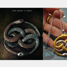 The Never Ending Story Steampunk Vintage style two snake gold silver mixed necklace men neckalce cool 20(China (Mainland))