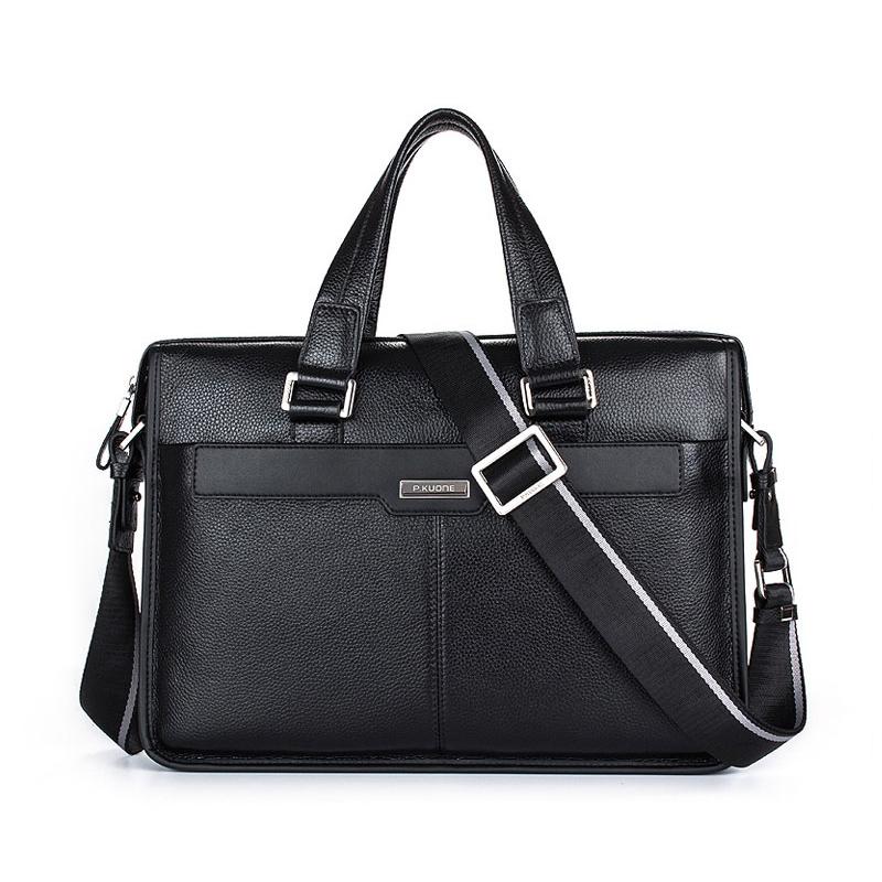 Brand P.kuone men briefcase genuine leather business bag 14