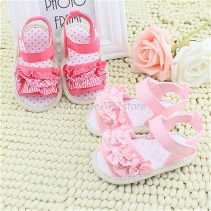 Princess Girl Summer Infant Baby Lace Soft Sole Non-slip Crib First Walkers Shoes(China (Mainland))