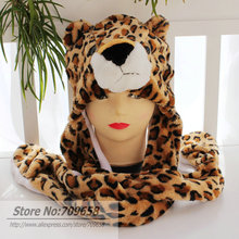 120pcs/lot 2014 Fashion style! Free Shipping Cartoon Animal Long Style Cute leopard Plush Winter Warm Party Cute Cap Hat(China (Mainland))