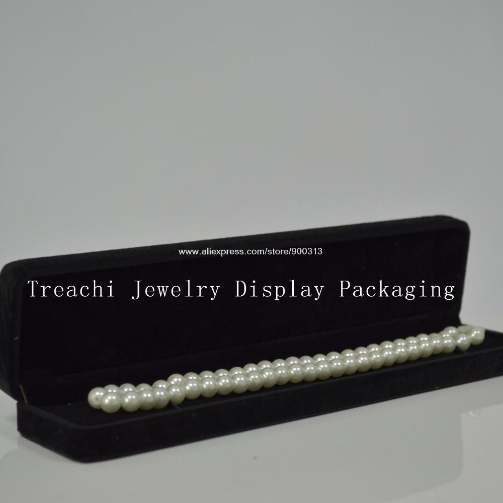 Free Shipping Jewelry Storage Box Black Velvet for Necklace Chain Bracelet Round Corner Box TC-32150104(China (Mainland))