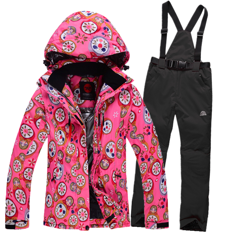 Фотография 2016 winter womens ski suits waterproof windproof girl jacket and pants super warm skiing coat outdoor sportswear size S-XXL