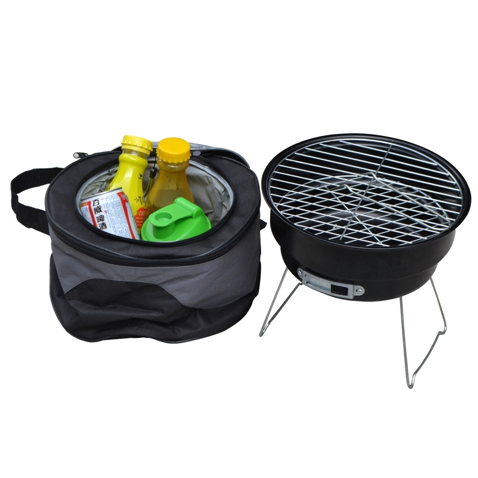 Stainless steel outdoor household couple barbecue brazier charcoal portable mini bbq grill with shoulder cooler bags D10(China (Mainland))
