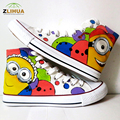 JUP Children Shoes Breathable Cartoon Despicable Me Style Canvas Shoes High Top Shoes Hand Painted Shoes