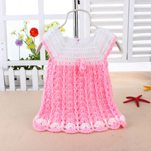 newborn little girl knitted dresses,bright colors,one size,for 0-1 year,1015(China (Mainland))