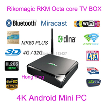 Rikomagic RKM MK80 Plus Allwinner A80 Octa Core XBMC Android TV Box 32G 802.11ac 2.4G/5GHz WiFi RJ45 AV SD USB 3.0 SATA Smart TV