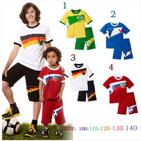 children clothing sports set Boys soccer World Cup short-sleeved suit tshirt and pants size 100-140cm four colors(China (Mainland))