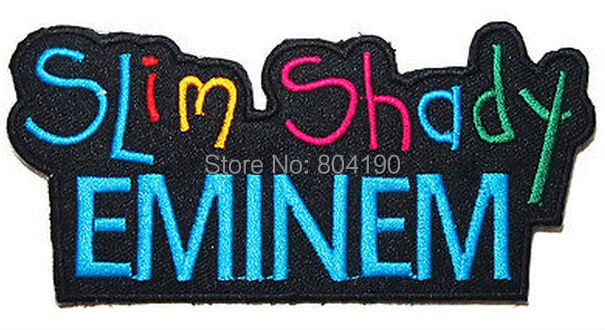 "4.5"" Eminem The Real Slim Shady Hip Hop Music Rock Band LOGO Embroidered IRON ON Patch Applique Cap Hat Heavy Metal(China (Mainland))"