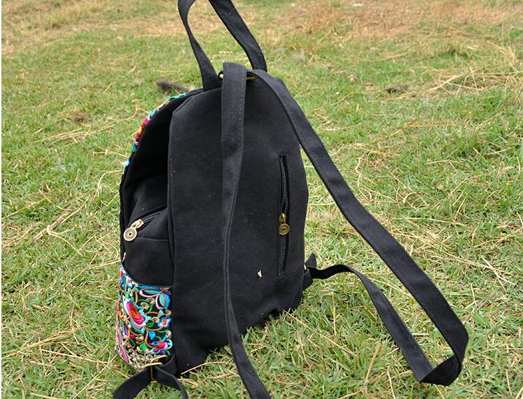 Attra-y! национальный холст этническая рюкзак ручной цветок вышитые мешок дорожные сумки мешок школы рюкзаки mochila etnica LS5523