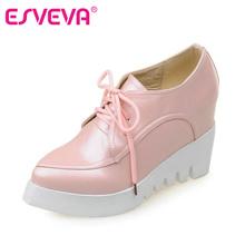 ESVEVA Women Lace Up Wedges High Heel Platform Pumps Spring Autumn Ladies Pointed Toe Height Increasing Pink Fashion Shoes(China (Mainland))