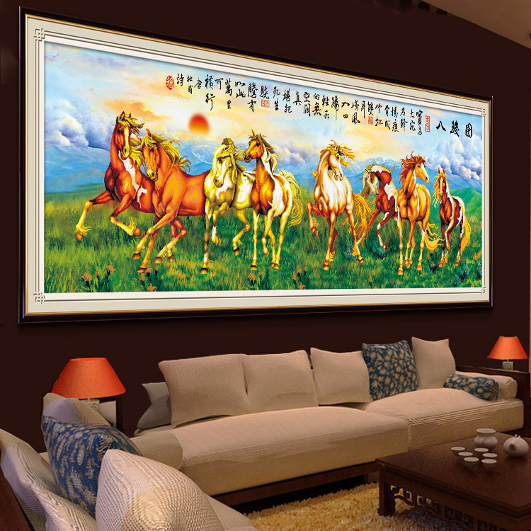 Гаджет  Precision printing 3D stitch substantial success to the new living room series Eight Horses Cross Stitch 2 meters large painting None Изготовление под заказ