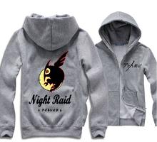 Autumn And Winter Fashion Men Women Anime Akame ga KILL Hoodie Night Raid Pattern Thick Zipper Hooded Jacket Coat Multicolor(China (Mainland))