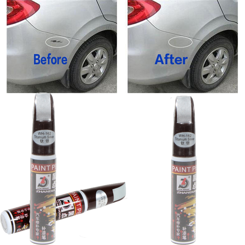 1pc Titanium Silver 12ml New Professional Car Paint Repair Pen Waterproof Fix It Pro Clear Car Scratch Remover Painting Pens(China (Mainland))