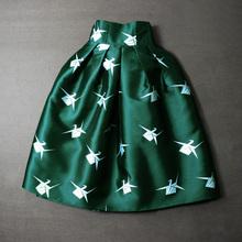 2016 women spring summer bird Prints skirt ball gown pleated knee length skirt vintage high waist Skirts