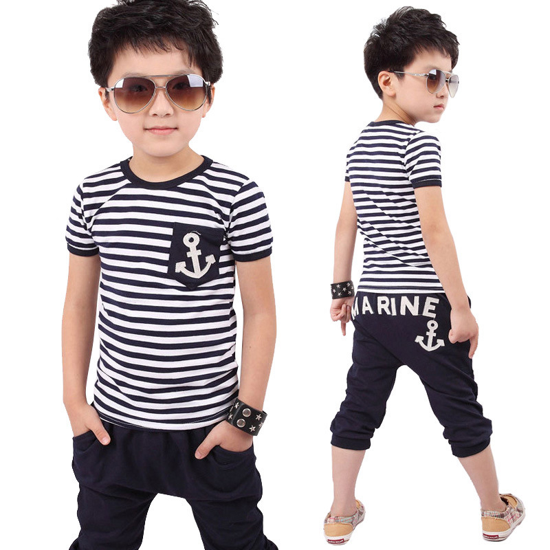 2015 Striped Children's Suits Summer Navy Boys Set Anchors T-shirt Within Harem Pants Suit Striped Children's Clothing Suits(China (Mainland))