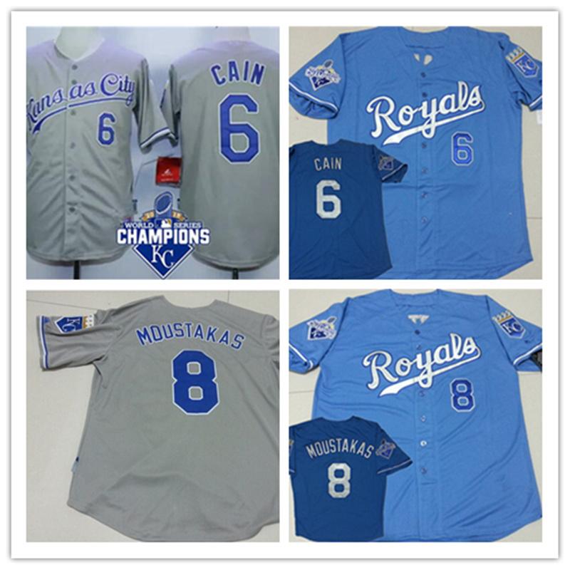 New fabric ! Mens gray cheap 8 Mike Moustakas 2015 cool base Jersey powder blue discount 6 Lorenzo Cain Baseball Jersey(China (Mainland))