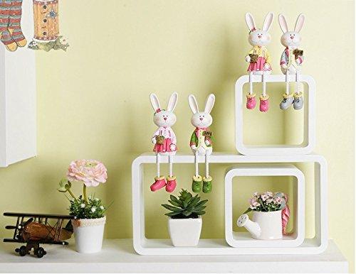 Uniifurn Wall Shelf Series White Display Cubes Elegant Rounded Corner Set 3 - Christina Zhou's store