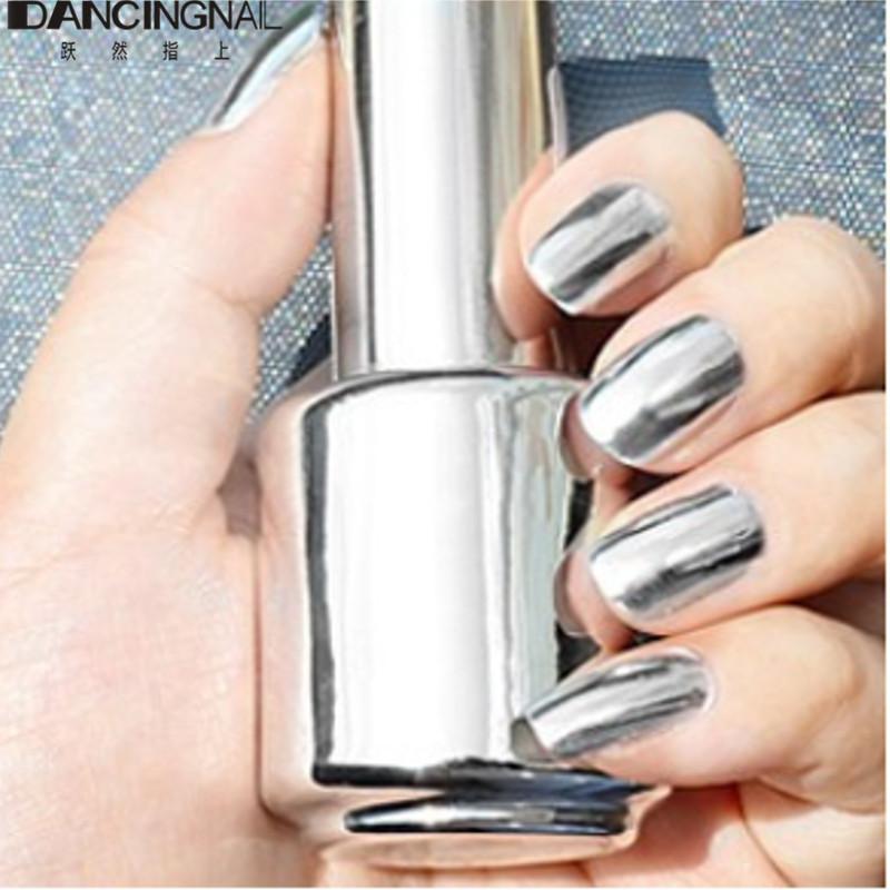 2 Bottles 15ml Silver Mirror Effect Nail Polish Varnish Top Coat Metallic Nails Art Tips DIY Manicure Design Tools Set(China (Mainland))
