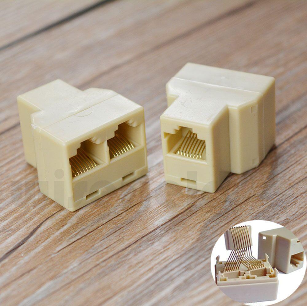 Gold RJ45 RJ 45 Splitter 1 2 Ethernet Network Connecter