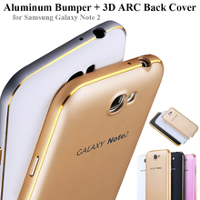 Coque for Samsung Galaxy Note 2 II N7100 Mobile Phone Metal Protective Cases Arc Aluminum Bumper Frame + 3D Edge Hard Back Cover(China (Mainland))